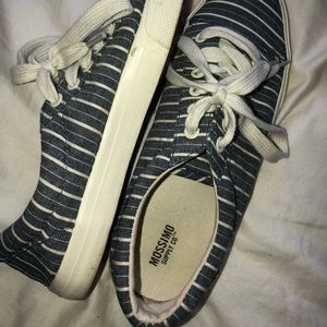 Navy Blue & White Striped Sneakers